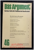 Brecht/Lukács/Benjamin : Das Argument : Berliner Hefte für Probleme der Gesellschaft ; 46 : 10. Jg. März 1968. Heft 1/2, Doppelheft.