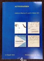 Autographen aus allen Gebieten. Auktion in Basel am 21. und 22. Oktober 2011 im großen Saal des Schmiedenhofs
