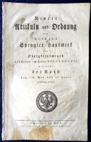 Frankfurt am Main 1787 : Neuere Artikuln und Ordnung dem hiesigen Spengler-Handwerk von Obrigkeitswegen ertheilt